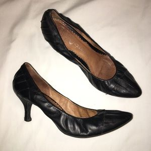 Jeffry Campbell Black Leather Gathers Heels 9.5